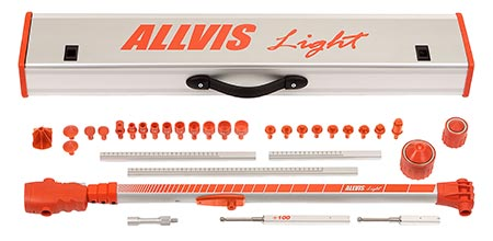A red box with the text Allvis Light. In front of the box there are magnetic mounts and a measuring arm.